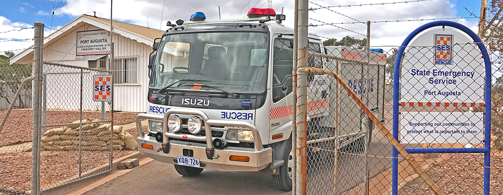 SA State Emergency Service rescue vehicle in front of the Port Augusta Unit building