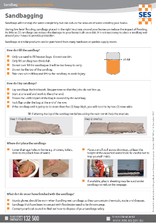 Click to view and print the SES - Quick Reference Guide - Sandbagging for protection