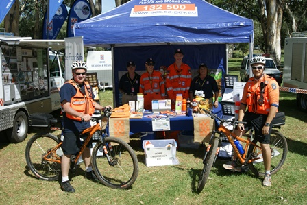 SES Community Engagement Unit at the Clipsal event with BikeSAR volunteers.