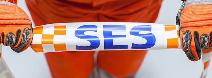 SA State Emergency Service volunteer holding SES tape