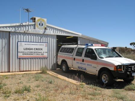 SA State Emergency Service rescue vehicle in front of the Leigh Creek Unit building