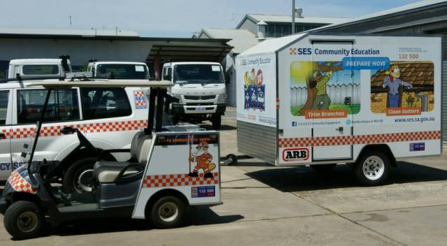 A golf buggy and trailer used by SES Community Engagement Unit to parade and transport our mascot, Paddy the Platypus.