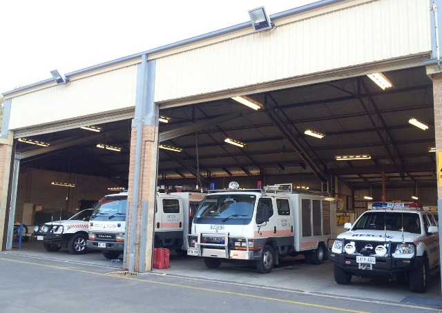 Rescue vehicles at Metro South SES unit. Metro South 31 and 32 general rescue vehicles, make: Mitsubishi, model: Canter. Metro South 41 and 42 quick response vehicles, make: Nissan, model: Navara.