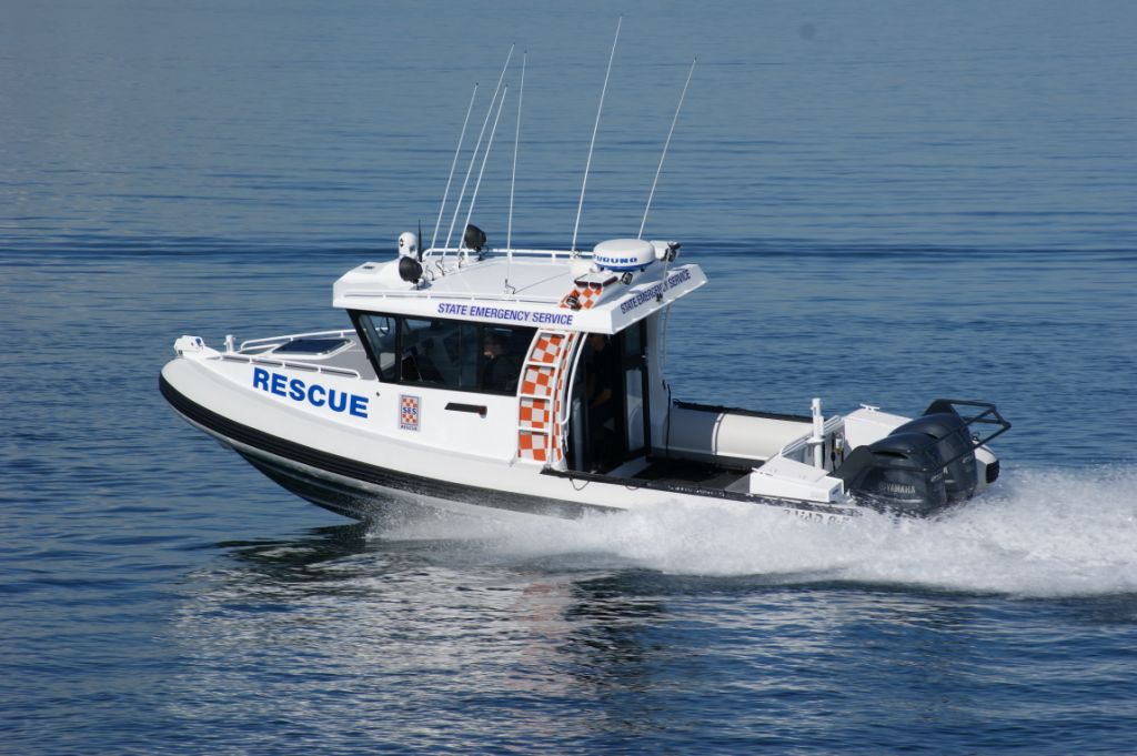 New NAIAD (NZ) Rigid Inflatable Boat delivered to Kingston SE SES Unit 2015.  Length: 8.5 meters. Weight: 3.5 tonnes.  Beam: 3.0 meters. Propulsion: 2 x Yamaha 250HP 4 stroke outboards.  Fuel capacity: 550 Litres. Cruising Speed: 25 Knots, Top speed: 45 knots (dependent on sea state). Electronics: Furuno Navnet, dual touch screen display, integrated GPS/Plotter/Sounder/Radar/Forward Looking Infra-Red (FLIR) Camera.  Communications: VHF, HF, 27 Mhz. UHF & Government Radio Network radios & loud hailer.  Searchlights: Lightforce DL240 HID manual remote