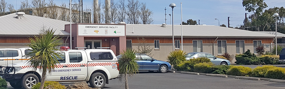 SA State Emergency Service rescue vehicle in front of the Emergency Services Facility building